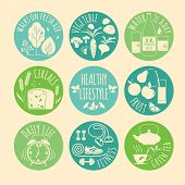 Healthy lifestyle Icons set.
