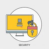 Flat Design Concept For Security. Vector Illustration For Web Banners And Promotional Materials
