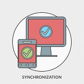 Flat Design Concept For Synchronization. Vector Illustration For Web Banners And Promotional Materia