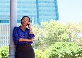 African Business Woman Calling By Mobile Phone