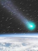 Постер, плакат: MeteorComet hitting the Earth