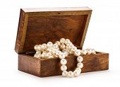 Wooden Chest With White Pearl Necklace