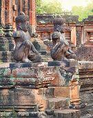 Banteay Srei temple Dvarapala statues, Cambodia