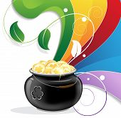 stock photo of pot gold  - Rainbow and pot of gold on white background - JPG