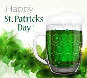 Green Beer On Clover Background