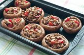Stuffed Mushrooms With Tomato In The Black Form