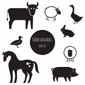 Farm animals icon set