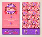Vintage Happy Easter Greeting Card Design.