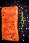 Fresh Salmon Fillet With Pepper, Rosemary And Sea Salt
