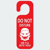 Vector tag with vampire icon. Do not disturb or I'll bite you. Format eps 10