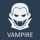 Vector vampire. Blue background. Format eps 10