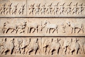 image of belur  - Hindu temple wall with ornate carving Asia - JPG