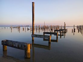 picture of katrina  - Remains of piers on Gulf Coast near Biloxi MS ten years after Hurricane Katrina - JPG