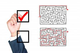pic of thinking outside box  - motivation think outside the box solution for success by businessman tick box on white background - JPG
