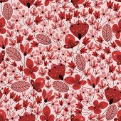 picture of oval  - Retro wildflowers seamless pattern background in pastel shades of red and pink colors with field of flowers with oval leaves - JPG