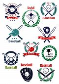 picture of ball cap  - Baseball game green and blue retro emblems with balls - JPG