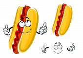 pic of whole-wheat  - Cartoon hot dog character with ketchup and whole wheat bun showing thumb up gesture - JPG