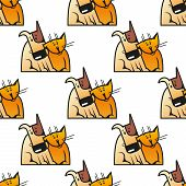 stock photo of snuggle  - Cartoon cats and dogs seamless pattern showing cute orange cat snuggled to spotty brown dog for pets friendship or wallpaper design - JPG