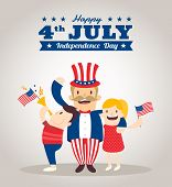picture of uncle  - uncle sam cartoon with kids happy 4th of july Independence day celebration illustration - JPG