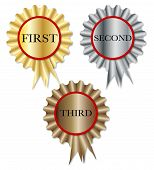 stock photo of rosette  - A set of three competition rosettes over a white background - JPG