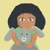 foto of shy girl  - Shy girl hiding behind a toy rabbit - JPG
