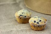 stock photo of sackcloth  - muffin on burlap sackcloth homemade dessert breakfast health food - JPG