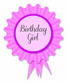 pic of rosettes  - Pink and purple rosette with the legend birthday girl - JPG