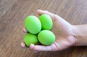 picture of egg  - preserved egg century egg in hand. century egg ** Note: Soft Focus at 100%, best at smaller sizes - JPG