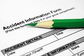 stock photo of workplace accident  - Filling out an accident information form - JPG