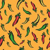 pic of jalapeno  - Colorful seamless background with differend colors of spicy jalapeno peppers - JPG