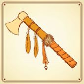 stock photo of tomahawk  - Sketch indian tomahawk in vintage style vector - JPG