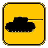 foto of panzer  - Panzer button on white background - JPG