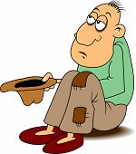 image of beggar  - beggar in holey pants requests coin vector - JPG