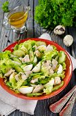 foto of liver  - Vegetable salad with cod liver seasoned with lemon sauce - JPG