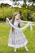 picture of aristocrat  - Aristocratic girl in princess dress starts dances - JPG