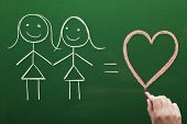 picture of homosexuality  - Female homosexual relation concept sketched on green chalkboard - JPG