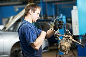 picture of levers  - automotive mechanic worker tighten screw with spanner during automobile car maintenance at lever repair service station - JPG
