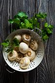 picture of champignons  - Fresh white champignons in a colander on dark wooden table - JPG