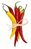 image of yellow-pepper  - bunch of red and yellow chili peppers in white back - JPG