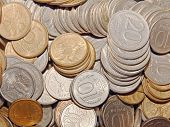 picture of copper coins  - Plenty ruble coins taken closeup suitable as background - JPG