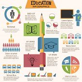 stock photo of education  - Big set of education infographic elements with creative statistical graphs - JPG