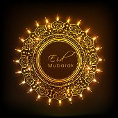 stock photo of ramadan mubarak  - Golden rounded frame decorated with beautiful artistic floral design on brown background for Islamic festival - JPG