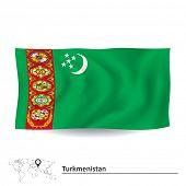 picture of turkmenistan  - Flag of Turkmenistan  - JPG