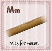 foto of letter m  - Flashcard letter M is for meter - JPG