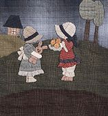 stock photo of applique  - Sunbonnet sue applique quilt with two little girls - JPG