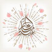 picture of eid mubarak  - Arabic calligraphy text Eid Mubarak on creative firework background for muslim community festival celebration - JPG