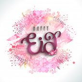 image of muslim  - Glossy text Happy Eid on colorful splash and flowers decorated background for muslim community festival celebration - JPG