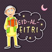 picture of fitri  - Illustration of a happy islamic boy holding a gift and celebrating on occasion of muslim community festival  - JPG