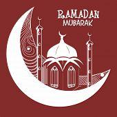 stock photo of ramadan mubarak card  - Beautiful greeting card with mosque situated on a moon - JPG