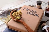 stock photo of roughage  - Different dried herbs and books on table close up - JPG
